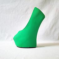 baratos Sapatos Femininos-Mulheres Sapatos Couro Ecológico Primavera / Outono Inovador Saltos Calcanhar Heterotípico Ponta Redonda Fúcsia / Verde / Rosa claro