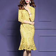 Dame Plusstørrelser Blonde Havfrue Kjole - Ensfarvet, Drapering