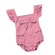Baby Jente Aktiv / Grunnleggende Daglig / Ferie Stripet / Ruter Åpen rygg / Sløyfe / Vintage Stil Kort Erme Bomull / Polyester Body Svart