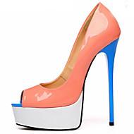 baratos Sapatos Femininos-Mulheres Sapatos Couro Ecológico Primavera Verão Plataforma Básica Saltos Salto Agulha Peep Toe Laranja / Festas & Noite / Festas & Noite