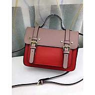 baratos Bolsas Satchel-Mulheres Bolsas couro legítimo Bolsa Carteiro Botões Rosa / Cinzento / Amarelo