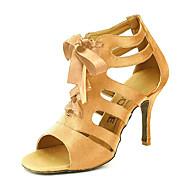 cheap Customized Dance Shoes-Women's Salsa Shoes / Ballroom Shoes Satin Sandal Buckle Customizable Dance Shoes Yellow / Fuchsia / Purple