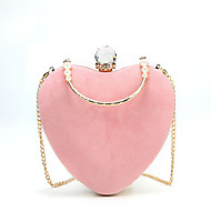 baratos Clutches & Bolsas de Noite-Mulheres Bolsas Veludo Bolsa de Festa Detalhes em Cristal Vermelho / Rosa / Cinzento Claro