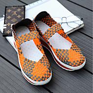 お買い得  レディースフラットシューズ-女性用 靴 繊維 夏 コンフォートシューズ フラット スイングシィーズ クリーパーズ クローズトゥ パープル / フクシャ / グリーン