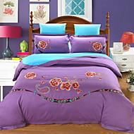 billige Blomstrete dynetrekk-Sengesett Blomstret Polyester / Bomull Broderi 4 delerBedding Sets / 4stk (1 Dynebetræk, 1 Lagen, 2 Pudebetræk)