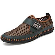 baratos Sapatos Masculinos-Homens Tule Primavera / Outono Conforto Mocassins e Slip-Ons Cinzento / Castanho Claro / Verde Escuro