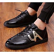 cheap Men's Sneakers-Men's Shoes Faux Leather Spring Comfort Sneakers Black