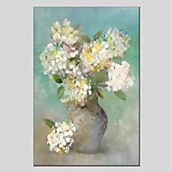 billiga Stilleben-Hang målad oljemålning HANDMÅLAD - Stilleben Blommig / Botanisk Moderna Duk