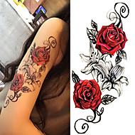 billiga Temporära tatueringar-3 pcs Tatueringsklistermärken tillfälliga tatueringar Blomserier / Romantisk serie Body art Kropp / skuldra / Ben