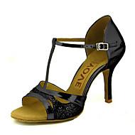 baratos Sapatilhas de Dança-Mulheres Sapatos de Dança Latina / Sapatos de Salsa Glitter / Courino Sandália / Salto Presilha / Cadarço de Borracha Salto Personalizado Personalizável Sapatos de Dança Dourado / Preto / Prateado