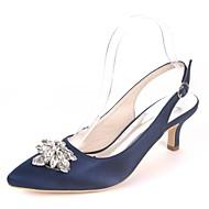 Pentru femei Satin Primavara vara Balerini Basic pantofi de nunta Toc Mic Vârf ascuțit Piatră Semiprețioasă Bleumarin / Maro deschis / Cristal / Nuntă / Party & Seară