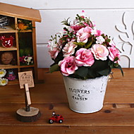 billige Kunstig Blomst-Kunstige blomster 1 Afdeling Retrorød Roser Bordblomst