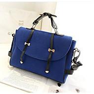 baratos Bolsas Satchel-Mulheres Bolsas Tecido Bolsa Carteiro Botões Azul