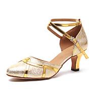 billige Moderne sko-Dame Moderne sko Syntetisk Høye hæler Spenne Kubansk hæl Dansesko Gull / Sølv / Trening