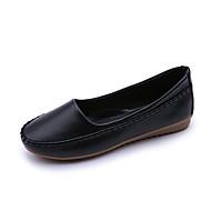 baratos Sapatos Femininos-Mulheres Sapatos Couro Ecológico Primavera Verão Mocassim Rasos Sem Salto Ponta Redonda Rendado Branco / Preto / Rosa claro