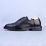 baratos Sapatos Masculinos-Homens Couro Primavera Conforto Oxfords Preto