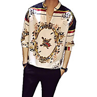 cheap -Men's Vintage Shirt - Floral Print Standing Collar White L / Spring / Summer