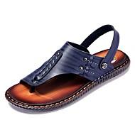 olcso -Férfi cipő Nappa Leather Nyár Kényelmes Szandálok Sötétkék / Sárga / Sötétbarna
