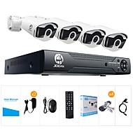 billige AHD-sæt-jooan® 8ch 1080n dvr 4x720p pro hd-tvi indendørs / udendørs ip66 vandtætte bullet kameraer med ir night vision leds hjem cctv video overvågningssæt
