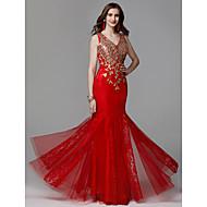 Χαμηλού Κόστους -Τρομπέτα / Γοργόνα Λαιμόκοψη V Μακρύ Δαντέλα / Τούλι Χοροεσπερίδα / Επίσημο Βραδινό Φόρεμα με Χάντρες / Δαντέλα με TS Couture®