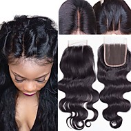 Guanyuwigs Brasiliansk hår 4x4 Lukning Bølget Gratis Del / Midterste del / 3 Del Schweiziske blonder Menneskehår Dame Med Baby Hair / Blød / Silkeagtig Hverdag / Daglig