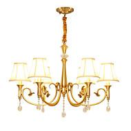billige Takbelysning og vifter-QIHengZhaoMing 6-Light Candle-stil Lysekroner Omgivelseslys Messing Metall Stof Krystall 110-120V / 220-240V Varm Hvit Pære Inkludert