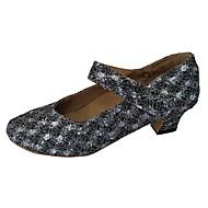billige Moderne sko-Dame Moderne sko Glimtende Glitter Høye hæler Kustomisert hæl Kan spesialtilpasses Dansesko Sølv / Rød / Innendørs