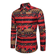 Homens Camisa Social Activo Básico Geométrica