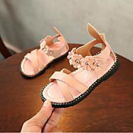baratos Sapatos de Menina-Para Meninas Sapatos Couro Ecológico Verão Conforto Sandálias Flor para Branco / Vermelho / Rosa claro