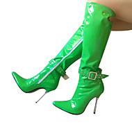 baratos Sapatos Femininos-Mulheres Sapatos Couro Ecológico Inverno Botas da Moda Botas Salto Agulha Dedo Apontado Botas Cano Alto Azul / Rosa claro / Azul Claro
