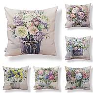 billige Putevar-6 stk Tekstil / Bomull / Lin Putevar, Blomstret / Art Deco / Printer Kvadrat-formet / Dekorativ