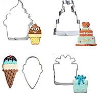 billige Kjeksverktøy-Bakeware verktøy Rustfritt Stål Kreativ Brød / Kake Cake Moulds 4stk