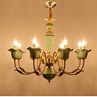 billiga Belysning-ZHISHU 8-Light Candle-stil Ljuskronor Xelogen & Krypton - Justerbar, stearinljus stil, 110-120V / 220-240V Glödlampa inkluderad / 15-20㎡