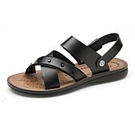 baratos Sapatos Masculinos-Homens Couro Ecológico Outono Conforto Sandálias Preto / Marron