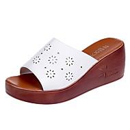 cheap -Women's PU(Polyurethane) Summer Comfort Slippers & Flip-Flops Wedge Heel White / Black