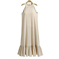 Women's Ruffle Plus Size Daily / Going out Basic / Street chic Maxi Shift Dress - Solid Colored Summer White Khaki XXL XXXL 4XL