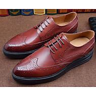 baratos Sapatos Masculinos-Homens Sapatos Confortáveis Pele Napa / Pele Outono Oxfords Preto / Vinho