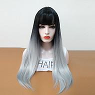Sintetičke perike Ravan kroj Stepenasta frizura Sintentička kosa Otporan na toplinu / Ombre / S praskama Siva Perika Žene Dug Prirodna