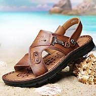 olcso -Férfi cipő Bőr Nyár Kényelmes Szandálok Barna / Khakizöld