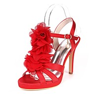 cheap -Women's Satin Spring & Summer Basic Pump Sandals Stiletto Heel Open Toe Satin Flower Red / Champagne / Ivory / Wedding / Party & Evening / Party & Evening