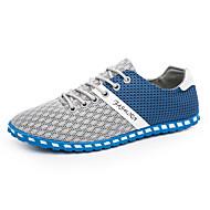 baratos Sapatos Masculinos-Homens Sapatos de Condução Com Transparência Primavera / Verão Conforto / Sapatos de mergulho Tênis Botas Curtas / Ankle Estampa Colorida Cinzento Escuro / Cinzento Claro / Azul