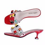 ieftine Oferte Promovate-Pentru femei Pantofi Piele PVC Vară Confortabili Sandale Toc Stilat Alb / Negru / Rosu