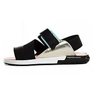 Homens sapatos Couro Ecológico Verão Conforto Sandálias para Ao ar livre Branco Preto Laranja