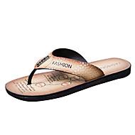 baratos Sapatos Masculinos-Homens Couro Ecológico Verão Conforto Chinelos e flip-flops Castanho Claro / Castanho Escuro