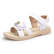 baratos Sapatos de Menina-Para Meninas Sapatos Couro Primavera Verão Conforto Sandálias Pérolas Sintéticas / Velcro para Branco / Rosa claro / Azul Claro