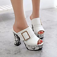 baratos Super Ofertas-Mulheres Sapatos Couro Ecológico Verão Conforto Sandálias Salto Robusto Branco / Preto / Vermelho