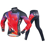 Realtoo Ανδρικά Μακρυμάνικο Φανέλα με κολάν για ποδηλασία - Μαύρο / Κόκκινο Ποδήλατο Ρούχα σύνολα 3D Pad Αθλητισμός Πολυεστέρας Spandex Γεωμετρικό Ποδηλασία Βουνού Ποδηλασία Δρόμου Ρούχα / Ελαστικό