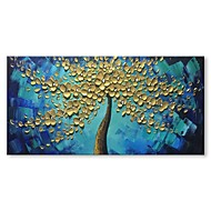 billiga Blom-/växtmålningar-styledecor® modern hand målade det gyllene trädet i den blå oljemålningen på kanfas väggkonst på inslagna duk