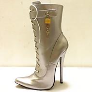 baratos Sapatos Femininos-Mulheres Sapatos Couro Ecológico Inverno Curta / Ankle Botas Salto Agulha Dedo Apontado Botas Curtas / Ankle Preto / Prata / Fúcsia