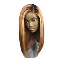 Remy hår Blonde Front Paryk Brasiliansk hår Lige Blond Paryk Bob frisure / Kort bob 130% Ombre-hår / Mørke hårrødder Blond Dame Kort Blondeparykker af menneskehår